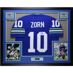 "Jim Zorn Signed Seahawks 35"" x 43"" Custom Framed Jersey (MIll Creek COA)"