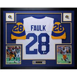 "Marshall Faulk Signed Rams 35"" x 43"" Custom Framed Jersey (PSA COA  Faulk Hologram)"