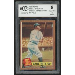 1962 Topps #139A2 Babe Ruth Special 5/Babe Hits 60 No Pole (BCCG 9)