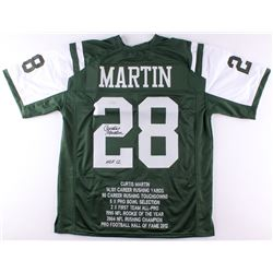 "Curtis Martin Signed Jets Career Highlight Stat Jersey Inscribed ""HOF 12"" (Radtke COA)"