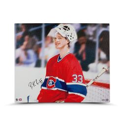 """Patrick Roy Signed Canadiens """"Beginnings"""" 20x24 Photo on Canvas (UDA)"""