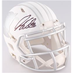 Greg Olsen Signed Panthers Custom Matte White ICE Speed Mini Helmet (JSA COA)