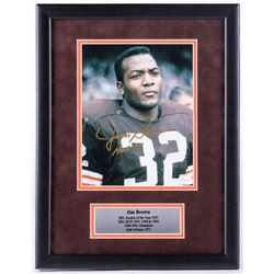 "Jim Brown Signed Browns 13.5x17.5 Custom Framed Photo Display Inscribed ""HOF 71"" (JSA COA)"