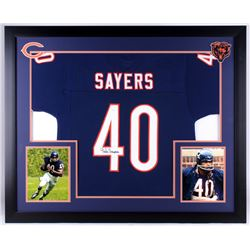 Gale Sayers Signed Bears 35.5x43.5 Custom Framed Jersey Display (JSA COA)