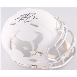 Lamar Miller Signed Texans White Ice Custom Matte Speed Mini-Helmet (JSA COA)