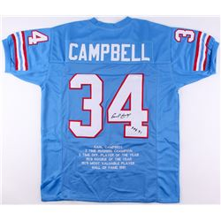 "Earl Campbell Signed Oilers Career Highlight Stat Jersey Inscribed ""HOF 91"" (JSA COA)"