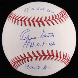 "Ozzie Smith Signed OML Baseball Inscribed ""15x All Star"", ""H.O.F.02""  ""13x G.G."" (JSA COA)"