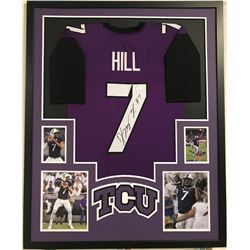 "Kenny Hill Signed TCU Horned Frogs 34"" x 42"" Custom Framed Jersey Display (JSA COA)"