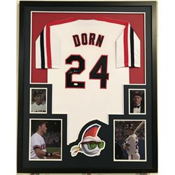 "Corbin Bernsen Signed ""Major League"" 34"" x 42"" Custom Framed Jersey Display (JSA COA)"
