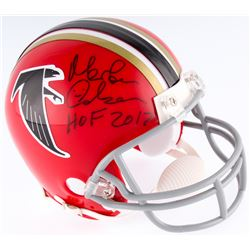 "Morten Andersen Signed Falcons Throwback Mini Helmet Inscribed ""HOF 2017"" (JSA COA)"