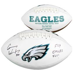 "Carson Wentz Signed Eagles Logo Football Inscribed ""AO1""  ""Fly Eagles Fly!"" (Fanatics Hologram)"