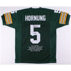 "Paul Hornung Signed Packers Career Highlight Stat Jersey Inscribed ""HOF '86"" (JSA COA)"