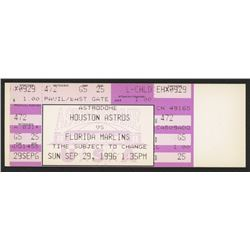 Nolan Ryan Astros vs. Marlins Ticket from September 29, 1996