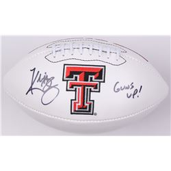 "Kliff Kingsbury Signed Texas Tech Red Raiders Logo Football Inscribed ""Guns Out!"" (JSA COA)"
