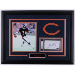 Walter Payton Signed Bears 18.25x24.5 Custom Framed Index Card Display (PSA Encapsulated  Payton Hol