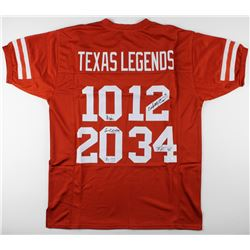 Texas Longhorns Jersey signed by (4) Colt McCoy, Vince Young, Ricky Williams,  Earl Campbell (JSA CO