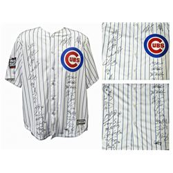 2016 Chicago Cubs Team-Signed Chicago Cubs White Pinstripe Majestic Authentic Jersey with (26) Signa