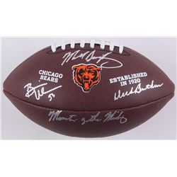 "Dick Butkus, Mike Singletary,  Brian Urlacher Signed Bears Logo Football Inscribed ""Monsters of the"