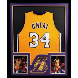 Shaquille O'Neal Signed Lakers 34x42 Custom Framed Jersey (JSA COA)