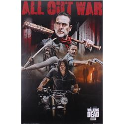 "Jeffrey Dean Morgan  Norman Reedus Signed The Walking Dead ""All Out War"" 24x36 Poster Inscribed ""Neg"