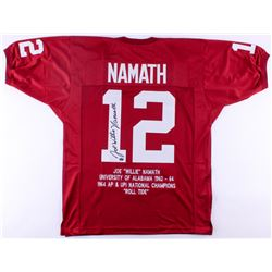 Joe Willie Namath Signed Alabama Crimson Tide Career Highlight Stat Jersey (JSA COA  Namath Hologram