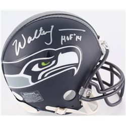 "Walter Jones Signed Seahawks Custom Matte Black Mini Helmet Inscribed ""HOF 14"" (JSA COA)"