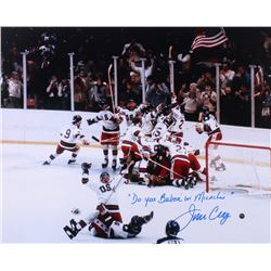 "Jim Craig Signed Team USA 16x20 Photo Inscribed ""Do You Believe In Miracles?"" (Steiner COA)"
