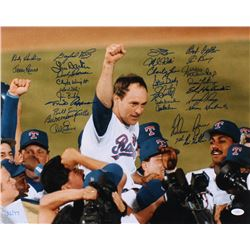 """Nolan Ryan's 7th No Hitter"" LE 16x20 Photo Signed by (27) With Nolan Ryan, Gaylord Perry, Jim Palme"