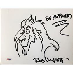 "Rob Minkoff Signed ""The Lion King"" Scar 8.5x11 Hand-Drawn Sketch Inscribed ""Be Prepared"" (PSA COA)"