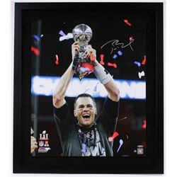 "Tom Brady Signed Patriots ""Super Bowl 51 Trophy"" 20x24 Custom Framed Photo Display (Steiner COA)"