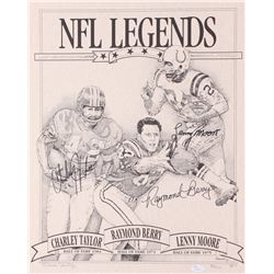 "Charley Taylor, Raymond Berry,  Lenny Moore Signed LE ""NFL Legends"" 16x20 Lithograph (JSA COA)"