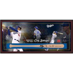 "Cody Bellinger Signed Dodgers ""Rookie of the Year"" 49.5x23.5x3.25 Custom Framed Louisville Slugger B"