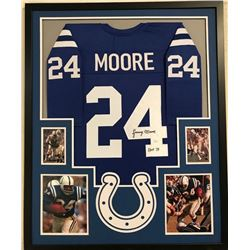 Lenny Moore Signed Colts 34x42 Custom Framed Jersey (JSA COA)