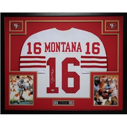 "Joe Montana Signed 49ers 35"" x 43"" Custom Framed Jersey (PSA COA)"