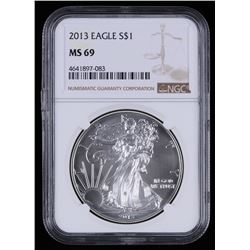 2013 $1 Silver American Eagle Coin (NGC MS69)