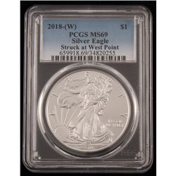 2018 $1 American Silver Eagle Coin (PCGS MS69)