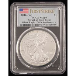 2016 $1 American Silver Eagle Coin - First Strike 30th Anniversary (PCGS MS69)
