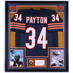 Walter Payton Signed Bears 34x38 Custom Framed Cut Display (PSA)
