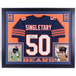 Mike Singletary Signed Bears 35x43 Custom Framed Jersey (JSA Hologram)