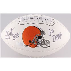 "Terrance West Signed Browns Logo Football Inscribed ""Go Dawgs"" (Radtke Hologram)"