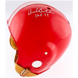 "Dick Butkus Signed Full Size 1950's Suspension Helmet With Leather Strap Inscribed ""HOF 79"" (PSA COA"