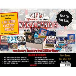"""Wax-A-Mania 2"" Sportscards.com Mystery Box - 4+ Factory Sealed Boxes in each Box!"