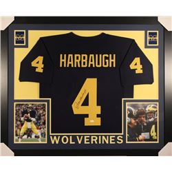 Jim Harbaugh Signed Michigan Wolverines 35x43 Custom Framed Jersey (JSA COA)