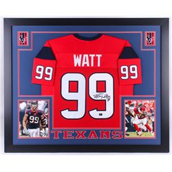J.J. Watt Signed Texans 35x43 Custom Framed Jersey (JSA COA  Watt Hologram)