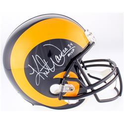 "Kurt Warner Signed Rams Full-Size Helmet Inscribed ""SB 34 MVP""  (Warner Hologram)"