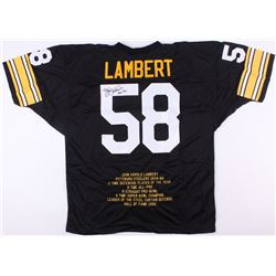 "Jack Lambert Signed Steelers Career Stat Highlight Jersey Inscribed ""HOF '90"" (JSA COA)"