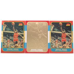 Lot Of (3) Michael Jordan Basketball Cards With Fleer 1994-00 Bleachers 23 Karat Gold #14 86/7 Repri