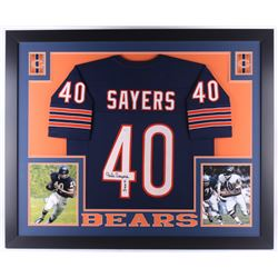 "Gale Sayers Signed Bears 35x43 Custom Framed Jersey Inscribed ""HOF 77"" (JSA COA)"