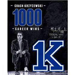 "Mike Krzyzewski Signed Duke Blue Devils ""1000 Career Wins"" 16x20 Photo Inscribed ""1000th Win 1-25-15"