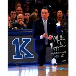 "Mike Krzyzewski Signed Duke Blue Devils 16x20 Photo Inscribed ""1000th Win 1-25-15"" (Steiner COA)"